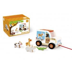 Houten sorteerwagen safari