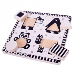 Houten zwart/wit puzzel...