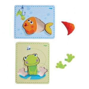 Houten puzzels Kikker & vis