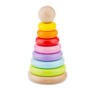 Houten stapeltoren regenboog