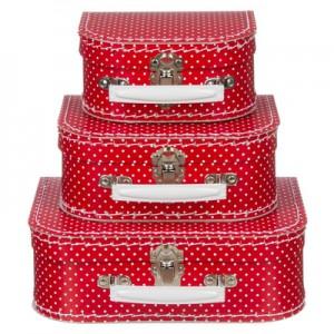 Kofferset rood met stippen...
