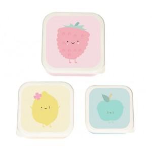 Lunchbox Framboos set van 3